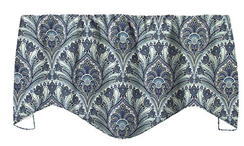 Decorative Things Valances for Windows, Valance Curtains Kitchen Window Valances, Living Room Window Treatments, Tommy Bahama Fabric, Turquoise Blue Curtains, Paisley 53 Inches x 16 Inches