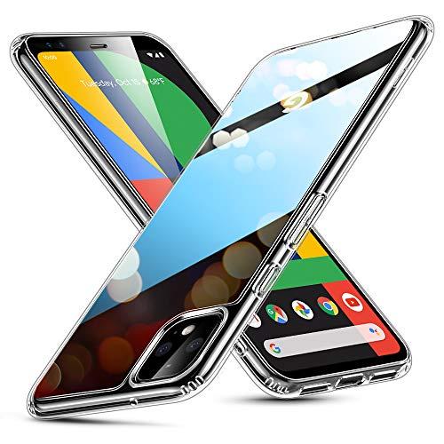 ESR Funda para Google Pixel 4 de Cristal Templado, Replica Tapa Trasera de Cristal, Resistente a arañazos, Borde Blando de Suave Silicona para Google Pixel 4, Transparente