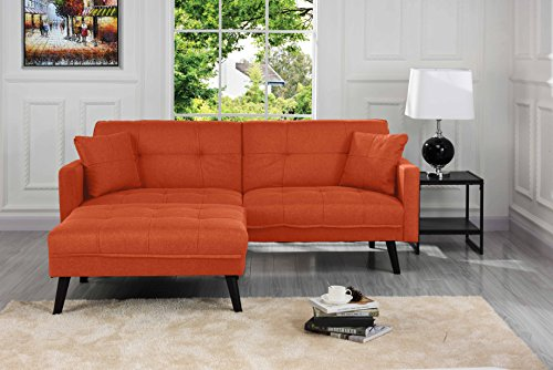 Sofamania Mid-Century Modern Linen Fabric Futon, Small Space Living Room Couch (Orange)
