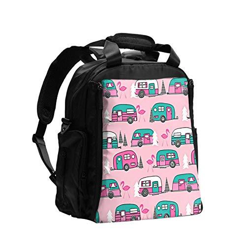 Happy Camper - Bolsa de pañales multifunción con diseño de flamencos, color rosa