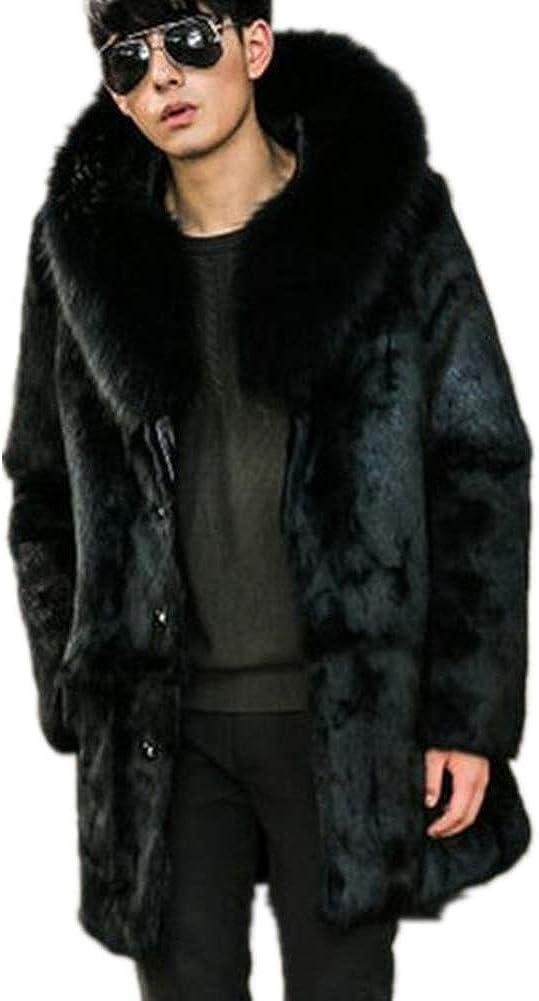 Winter Outwear Men's Faux Mink Fur Long Coat Big Hooded Parka Overcoat Thick Warm Coat Jacket