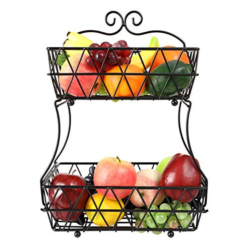 IZLIF 2-Tier Fruit Basket Metal Fruit Bowl Bread Baskets Detachable Fruit Holder kitchen Storage Baskets Stand - Screws Free Design for Fruits Breads Vegetables Snacks