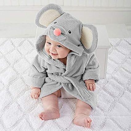 Pijama de bebé de gran calidad, suave, cómodo, con dibujos, toalla de baño con capucha, envoltorio de albornoz, artículos para bebé (s, gris)