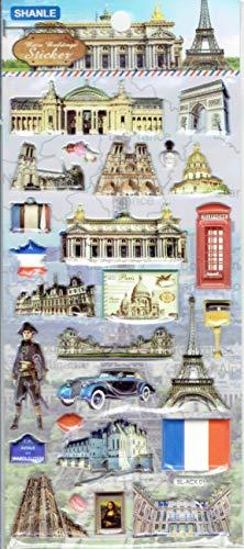3D Paris Frankreich Eiffelturm Louvre Notre Dame Arc de Triomphe Champs-Elysees Aufkleber 1 Blatt 190 mm x 90 mm Sticker Basteln Kinder Party