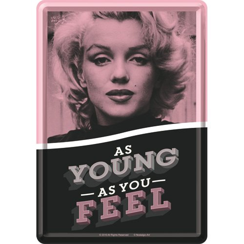 Nostalgic-Art Retro Grußkarte Marilyn Young As You Feel, Geburtstagskarte, Blechpostkarte, Mini-Blechschild im Vintage-Design, 10 x 14 cm