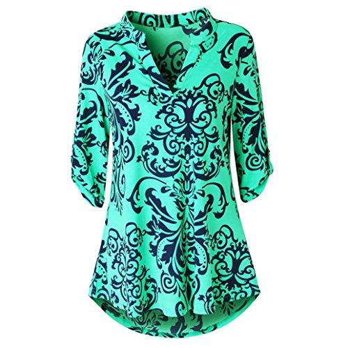 ESAILQ Damen Bluse Elegant Chiffon V-Ausschnitt Langarm Casual Oberteil Lose Langarmshirt V-Ausschnitt Vintage Tunika Hemd T-Shirt(S,Grün)