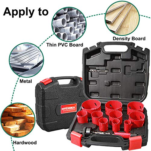 Bi-Metal Hole Saw Kit, HYCHIKA 17 Pcs High Speed Steel 3/4 inches- 2-1/2 inches Set in Case with Mandrels, Durable High Speed Steel, Perfect for Drilling PVC Board, Metal, and Plastic Plate