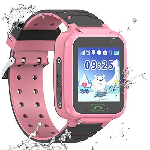 PTHTECHUS Reloj Inteligente a Prueba de Agua GPS Tracker para niños - Mire el Reloj Inteligente a Prueba de Agua con GPS LBS WiFi Localizador de teléfono con Chat de Voz Juego de cámara (S9-Rosa)