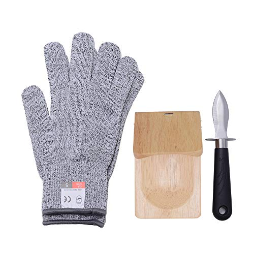 3-teiliges Oyster Shucker Öffner-Set – Austernmesser, Austernschüttelklemme und Level 5 Schutz, schnittfeste Handschuhe in Lebensmittelqualität