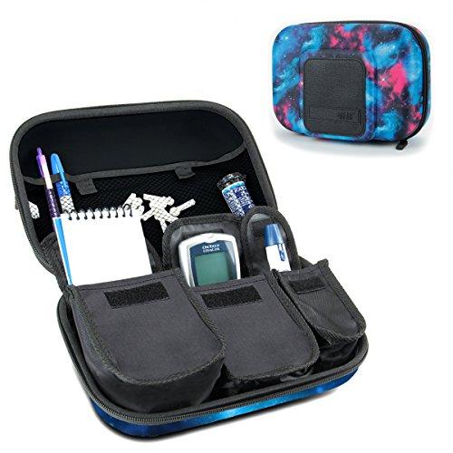 USA GEAR Organizador de Medicamentos de Viaje para Suministros para Diabéticos - Asimientos Sistema de Monitoreo de Glucosa, Jeringas, Viales de Insulina, Lancetas y más - Galaxia