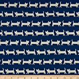 Elite Fabrics 0661413 Elite Tip-Top Oxford Cats Blue Fabric