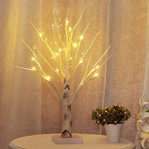 Lighted Birch Tree, 24 LED Twig Tree with Lights up Decorative Branches Tree Pre Lit Birch Tree Branch Lights for Indoor Holiday Wedding Party Xmas Decoration White