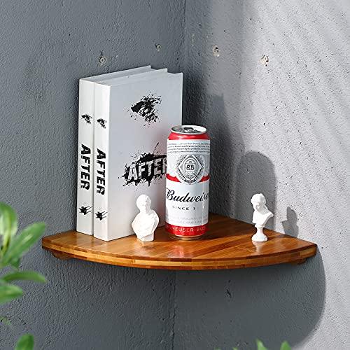 Estantería de esquina flotante para pared, bambú, rústico, estante de baño, estante de pared vintage para baño, sala de estar, dormitorio (color claro, 2525 cm)