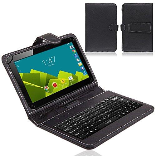 NAUC® Tablet Tasche USB Tastatur QWERTZ Keyboard für Vodafone Tab Prime 6 Hülle