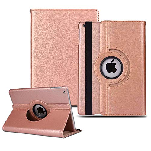 iPad Air 2019 Case, 360 Degree Rotating Adjustable Stand Leather Smart Cover for iPad Air 3 (3rd generation) 10.5' inches-Rose Gold