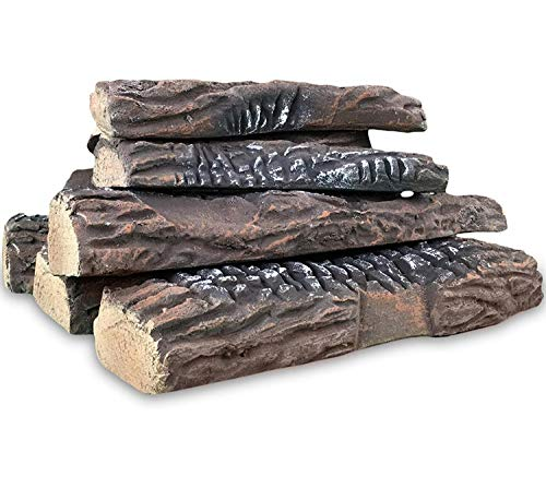 Regal Flame 10 Piece Set of Ceramic Wood Large Gas Fireplace Logs Logs for All Types of Indoor, Gas Inserts, Ventless & Vent Free, Propane, Gel, Ethanol, Electric, or Outdoor Fireplaces & Fire Pits.