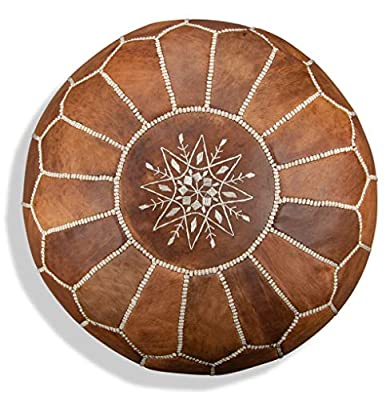 Premium Moroccan Leather Pouf - Handmade - Delivered Stuffed - Ottoman, Footstool, Floor Cushion (Cognac Brown)