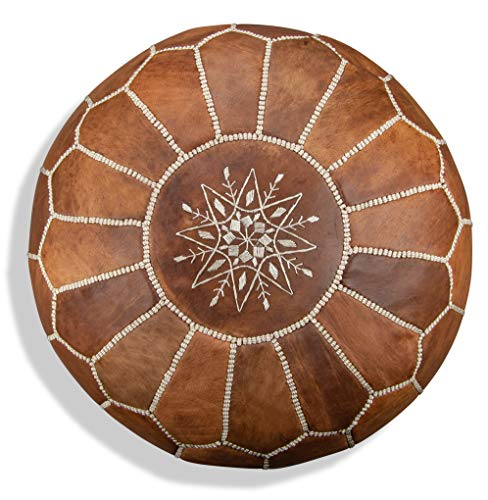 Puf y reposapies de piel natural relleno hecho a mano en Marrakech. Color marrón 55*35 cm