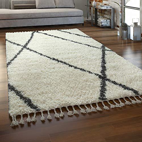 Tapis Poils Longs Beige Salon Doux Motif Losanges Design Scandinave À Franges, Dimension:160x220 cm