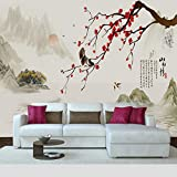 Papier Peint Chambre Adulte Pas Cher Oiseau Floral Rouge,400X280Cm Poster Geant Photo Mural Intissé Autocollant Tableaux Muraux Salon Chambre Décoration