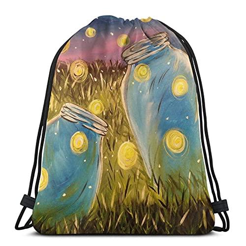 Lámpara de luz para botella de 5 lámparas, mochila con cordón, impermeable, bolsa de gimnasio, mochila deportiva (14.17 x 16.9 pulgadas), bolsa cincha para hombres y mujeres.