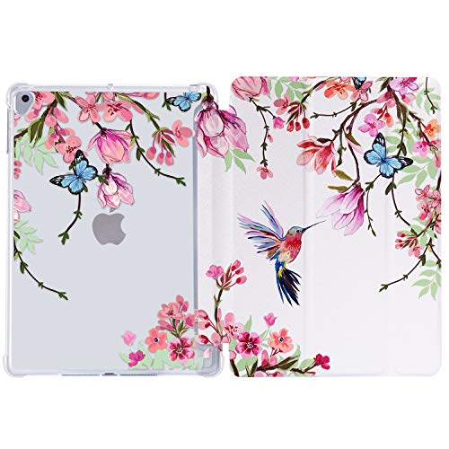 iPad 5th/6th Generation Case iPad Air 2 Case iPad Air Hummingbird Case iPad 97 Flower Case Trifold Protective Cover MultiAngle Viewing with Adjustable Stand Auto Wake / SleepFlowers Birds
