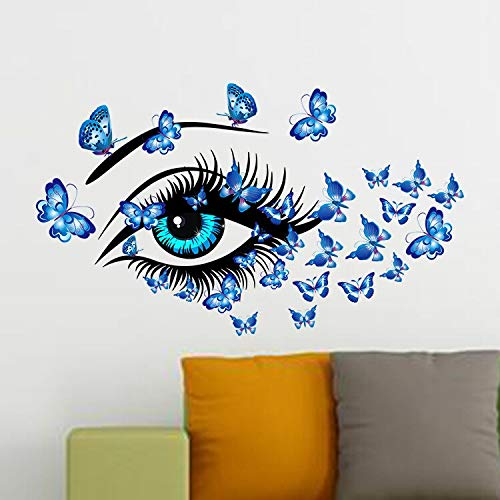 Butterflies Women's Eyes l Art Home Decor Blue Eye Wall Stickers Decals Living Room Bedroom TV Sofa Background Decor