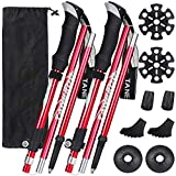Esup Trekking Poles for Hiking Collapsible Aluminum Alloy 7075 Hiking Poles 2pc Pack Adjustable Quick Lock for Hiking, Camping, Outdoor (Red)