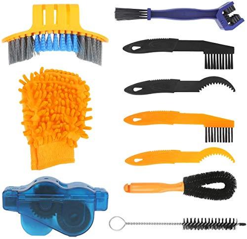 Kit de limpieza de bicicletas, 10 herramientas de lavado de bicicletas con depurador de cadena para montaña, carretera, híbrido, BMX, bicicleta plegable y motocicleta