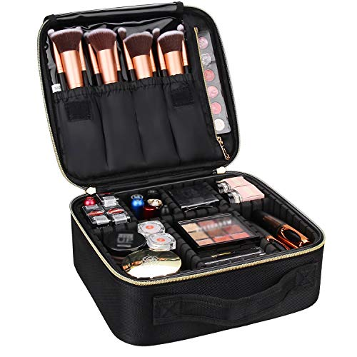 Travel Makeup Case,Chomeiu- Professional Cosmetic Makeup Bag Organizer Makeup Boxes With Compartments Neceser De Maquillaje(Black-M)