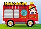 10 FEUERWEHR-Einladungskarten-Set: Lustige Einladungen zum Kindergeburtstag mit Feuerwehr-Mann und Auto von EDITION COLIBRI (10982)