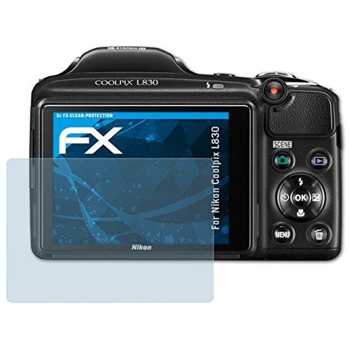 atFoliX Lámina Protectora de Pantalla Compatible con Nikon Coolpix L830 Película Protectora, Ultra Transparente FX Lámina Protectora (3X)
