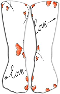"Xunulyn Men's Women Cool Colorful Casual Socks Novelty Funny Casual Cotton Crew Socks Gift 19.7""(50cm) Hearts Arrows Love ..."