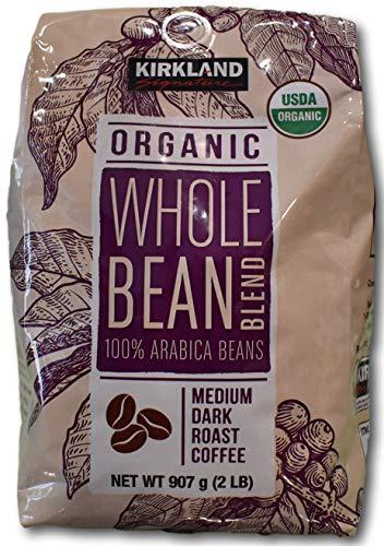 カークランド シグネチャー オーガニック ホールビーンブレンド 907g ミディアムダークローストコーヒー豆 100% アラビカ産 ×907g レギュラー(豆)
