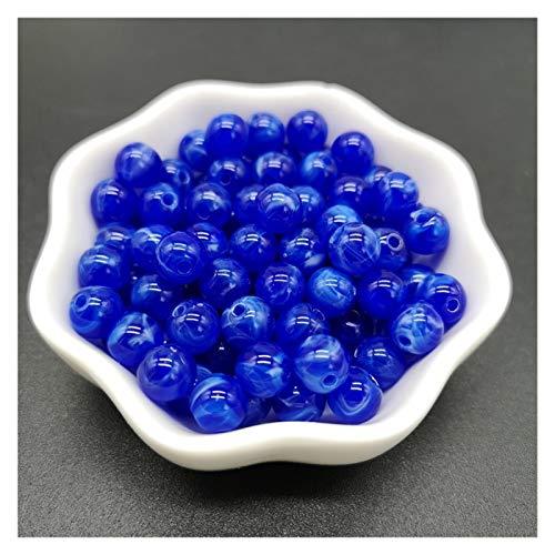 6 8 10 mm Imitación Piedra Natural Redondo Perlas acrílicas Nubes Efecto Granos para la Joyería Creando Pulsera Collar DIY Accesorio (Color : 02 Blue, Talla : 6mm 100pcs)