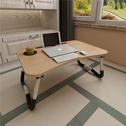 ACITMEX Laptop-Betttisch, faltbar, tragbar, mit Getränkeschlitz, Notebook-Ständer, Frühstückstablett, Buchhalter für Sofa, Bett, Terrasse, Balkon, Garten, Golden