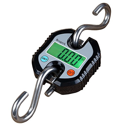 Mougerk Digital Hanging Scales Portable Heavy Duty Crane Scale 150 kg 300 lb 2 AAA Batteries(Not Included) (Black)