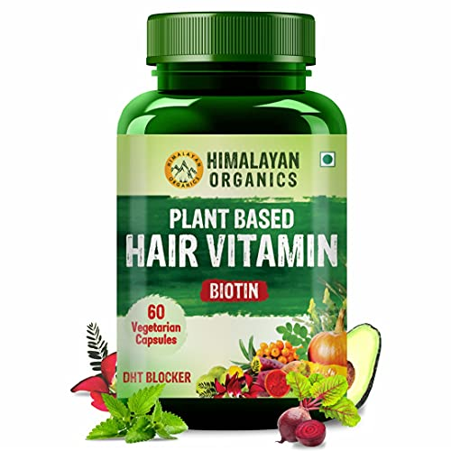Himalayan Organics Plant Based Hair Vitamin with DHT Blocker, Biotin, Vitamin D3, A, B3, B5, B6, B9, B12, Calcium, Iron & Zinc - 60 Veg Capsules