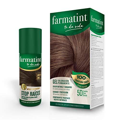 Farmatint Tinte permanente 5D Castaño Claro Dorado 135 ml + Spray Instantáneo Capilar Stop Raíces, Color Castaño Claro - 75 ml