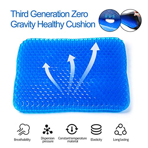 SUNKONG Gel Seat Cushion, Double Thick Seat Cushion Honeycomb Design Cushion with Non-Slip Mesh Seat Cover for Pressure Relief Back Pain -Home Office Chair Car Wheelchair