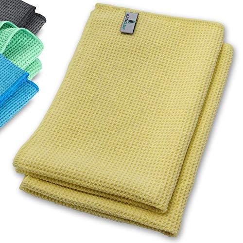 ELEXACLEAN Mikrofaser Trockentuch, Premium Waffeltuch (2 Stück, 60x40 cm, Gelb) superweiche Qualität für Auto, Glas, Küche, Geschirr, Bad