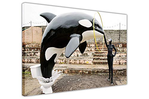 Retro Vintage Style Sign 12x16inches,Banksy Killer Whale Out of Toilet Art Graffiti Wall Decor Dismaland,Best in Metal Sign Retro Home Decoration Vintage Tin Sign for Bar Pub Home