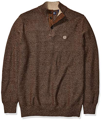 Chaps Men's Big and Tall Classic Fit Button Mock Sweater, Walnut Twist, LT