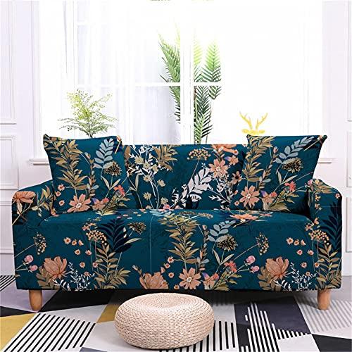 Meiju 3D Blumen Sofabezug Sofa Überwürfe L Form 1/2/3/4-Sitzer- Elastische Stretch Sofa Abdeckung - Antirutsch Sofa Schonbezug Couchbezug für Wohnzimmer (Goldene Blätter,2-Sitzer 145-185cm)
