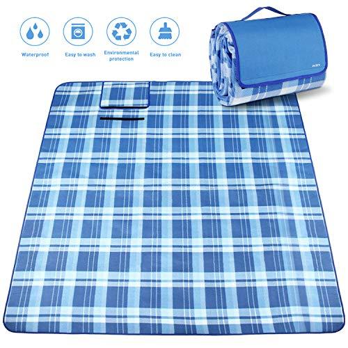 INTEY Picknickdecke 200 x 175 cm mit Weicher Fleece Oberseite und Wasserabweisender Unterseite, Riesengroße Campingdecke mit Handgriff, Blau/Weiß