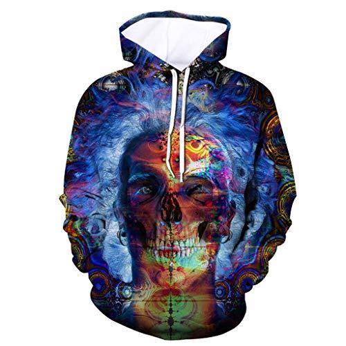 Xmiral Herren Slim Fit Hoodie Lange Ärmel Kapuzenpullover 3D Druck Farbig Sweatshirt Pullover Hooded Streetwear Hemden Strickwaren(j Violett,XL)