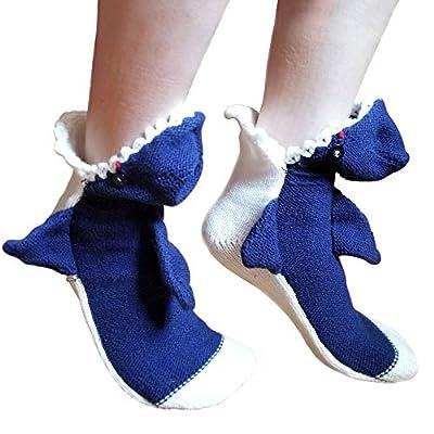 Shark Attack Crew Socks Soft Handmade Great White Novelty Eat Your Foot Shark Week Slipper Sock