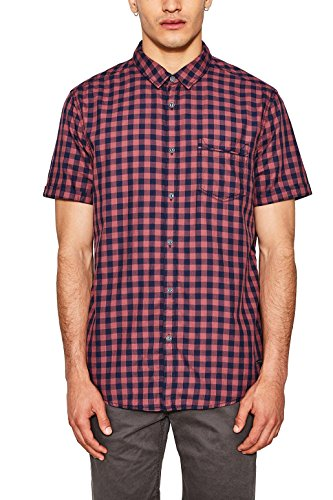 edc by ESPRIT Herren 067CC2F007 Freizeithemd, Rot (Bordeaux Red 600), Large