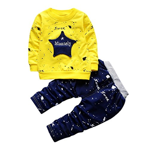 Hirolan Neugeborenes Säugling Baby Jungen Star Drucken Tops + Hosen Outfits Baggyjeans Pullover & Strickjacken Sweatshirts Hosen Babykleidung Krabbelhosen (Gelb, 90)