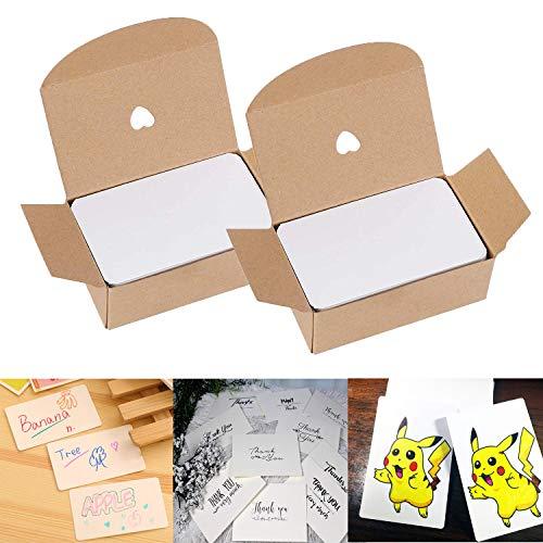 WELLXUNK Blanko Papier Karten, 200 Stücke Mitteilungs Karte Wort Karten, Weiß Kraftpapier Karten DIY Papier Karten Ideal zum Graffiti, Nachricht, Selbstgestalten & Kreieren
